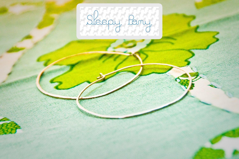 LoopDLoop Hammered Silver Hoop Earrings