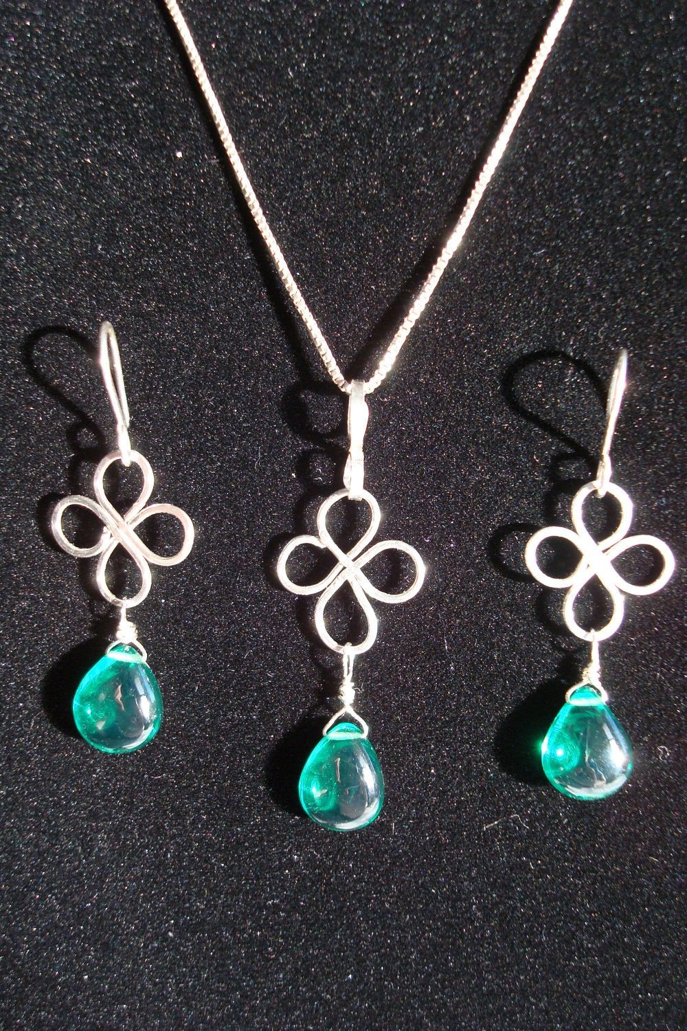 Pendant & Earrings Set- Wire Wrap, Sterling Silver, Green, Emerald Green Hydro Quartz, Briolette