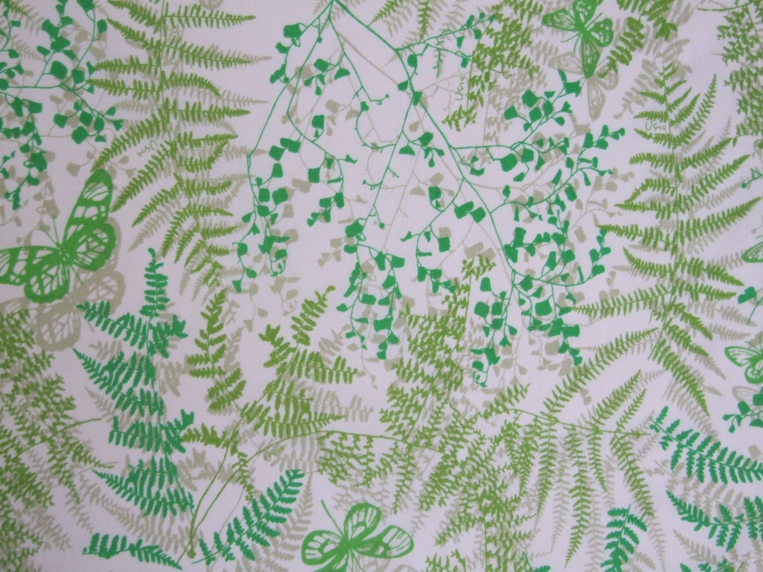Vintage sheet fat quarter - Vera Neumann ferns and butterflies