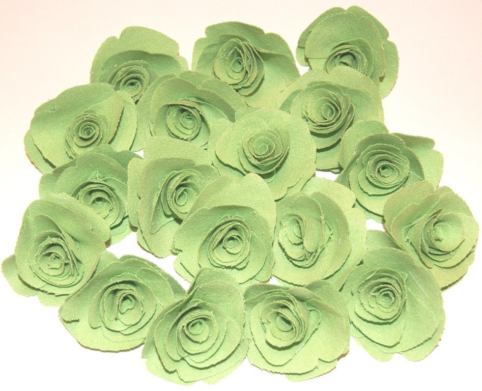 Lime Green Fabric Flowers Roses Appliques Lot of 18 Flowers Embellishments Fabric Roses Head Bands Scrapbooking - scrapitsideways