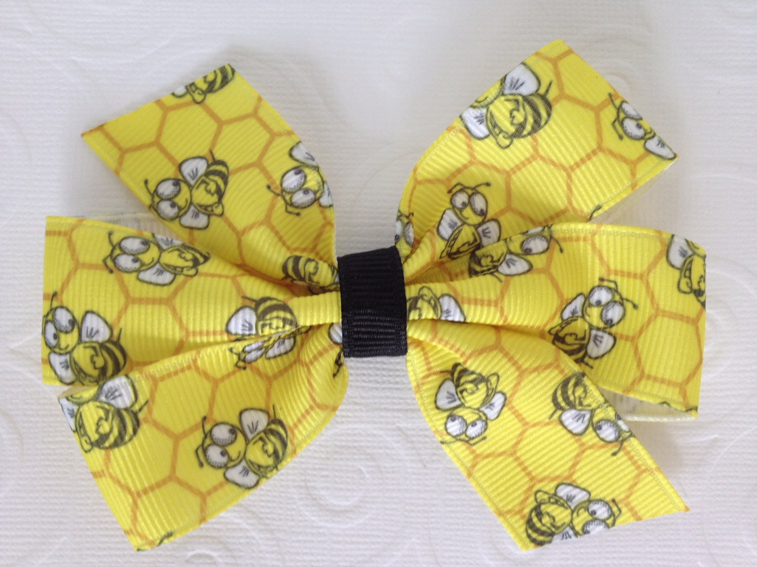 Bumble Bee Print on Yellow Medium Classic Pinwheel Hair Bow - PunkyPunkinCreations
