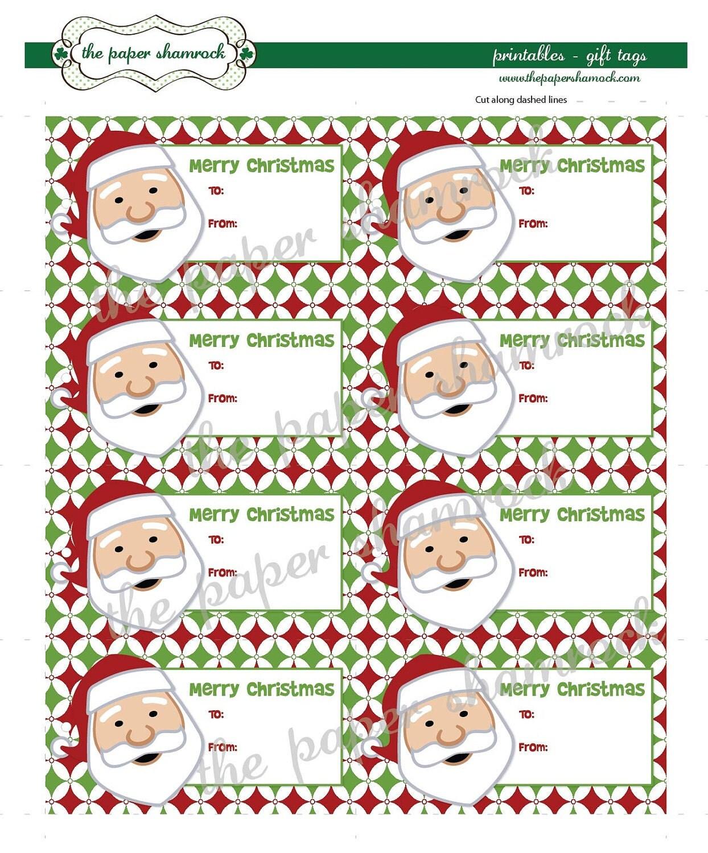 Pin Printable Santa Gift Tags By Thepapershamrock On Etsy on Pinterest