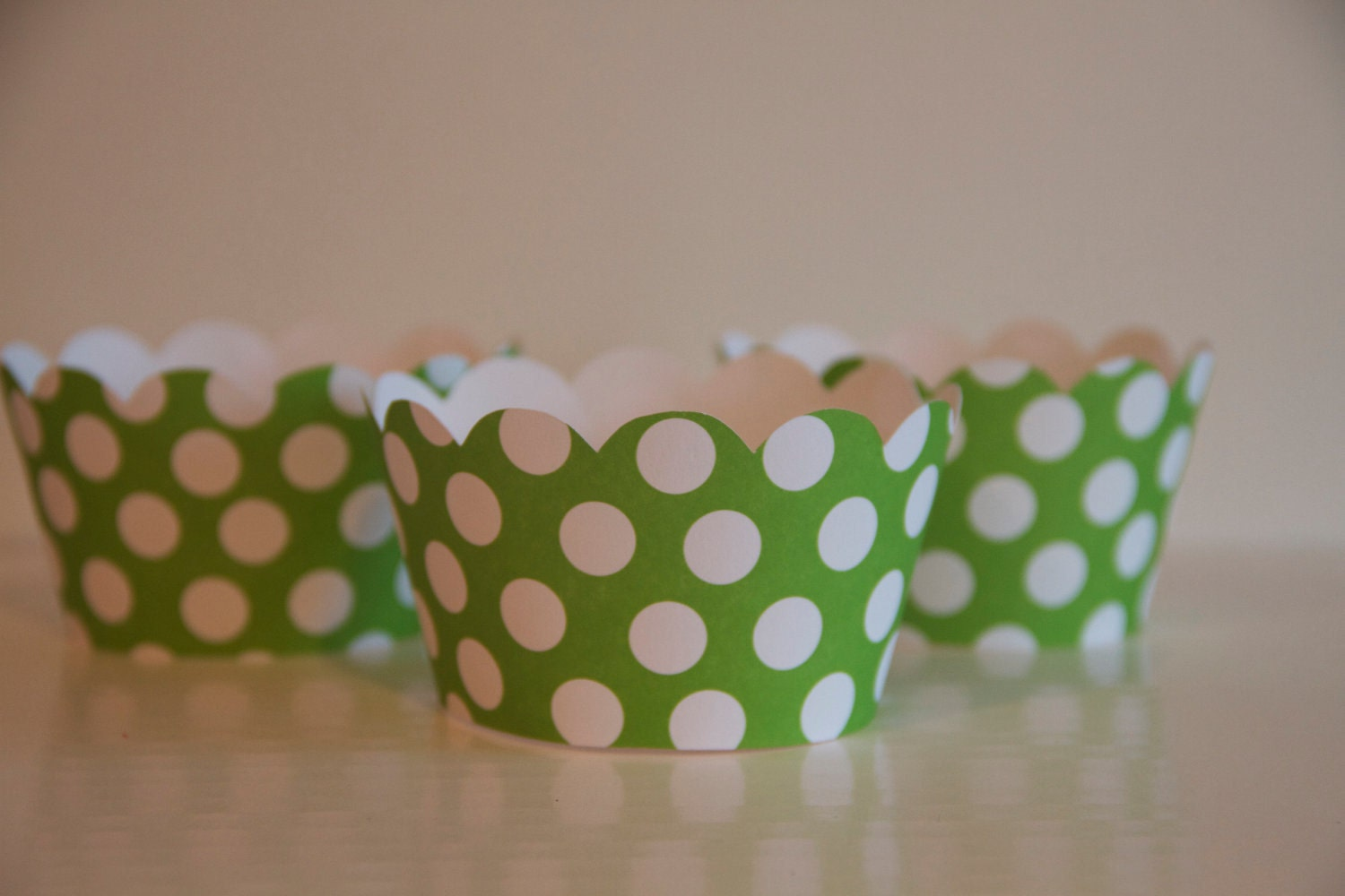 Green and White Polka Dot Cupcake Wrappers
