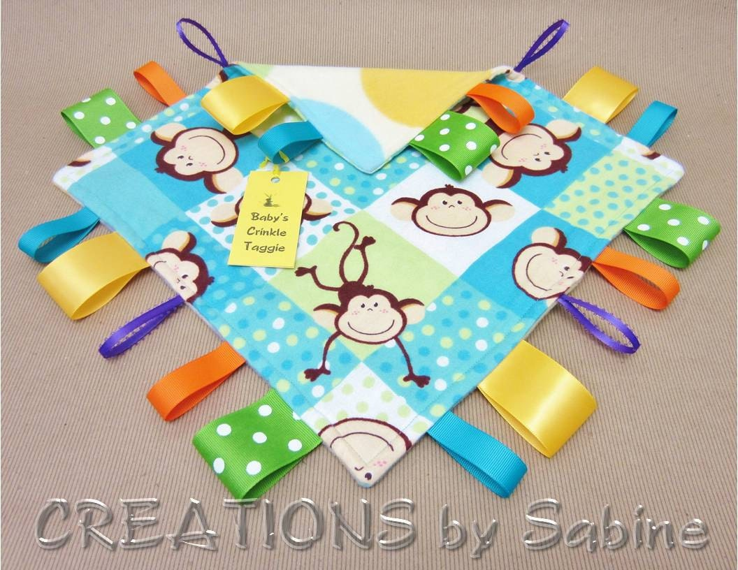 Baby Crinkle Tag Blanket Crinkle Taggie Sensory Toy with Crinkle Sound