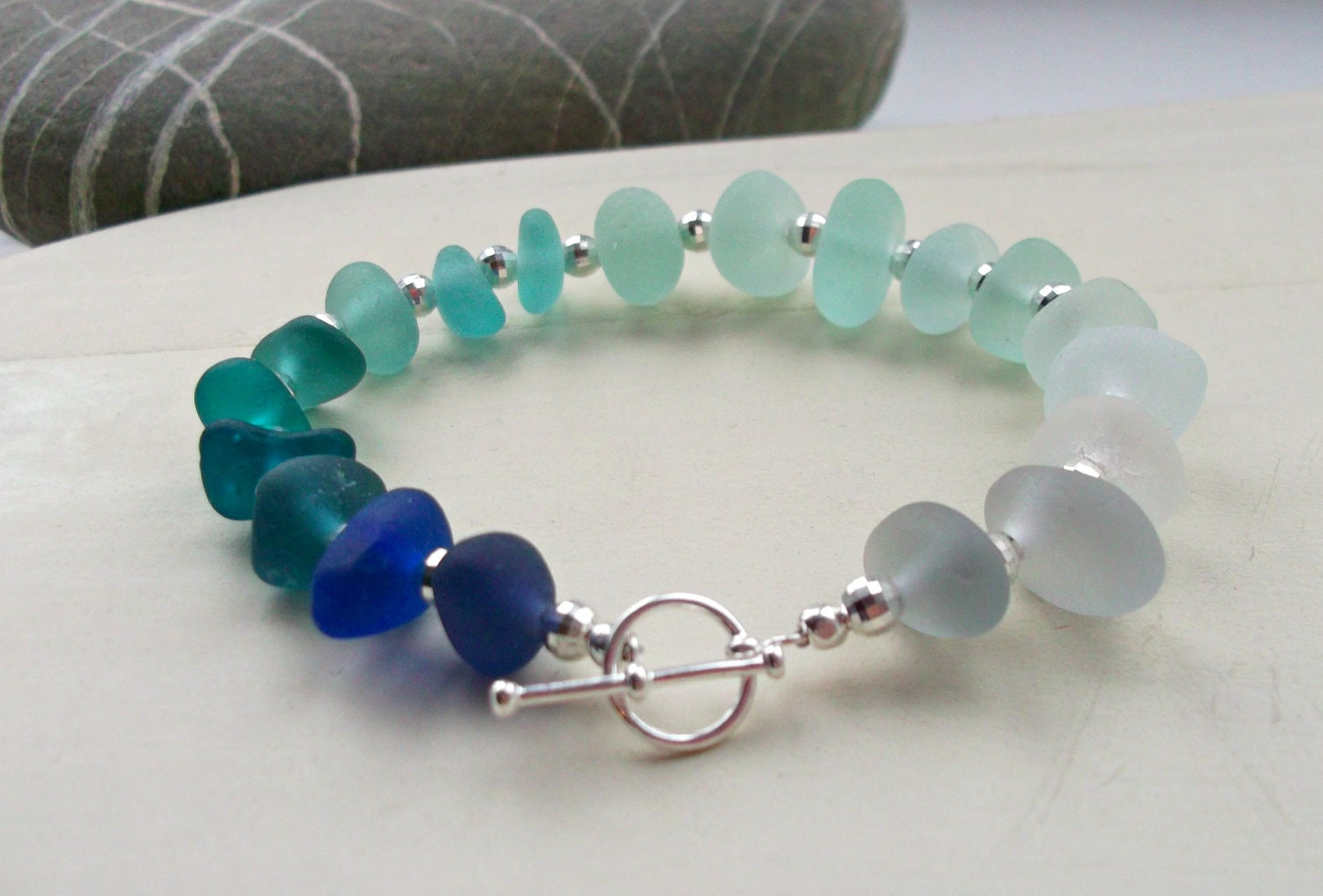 Blue Sea Glass Sterling Silver Bracelet