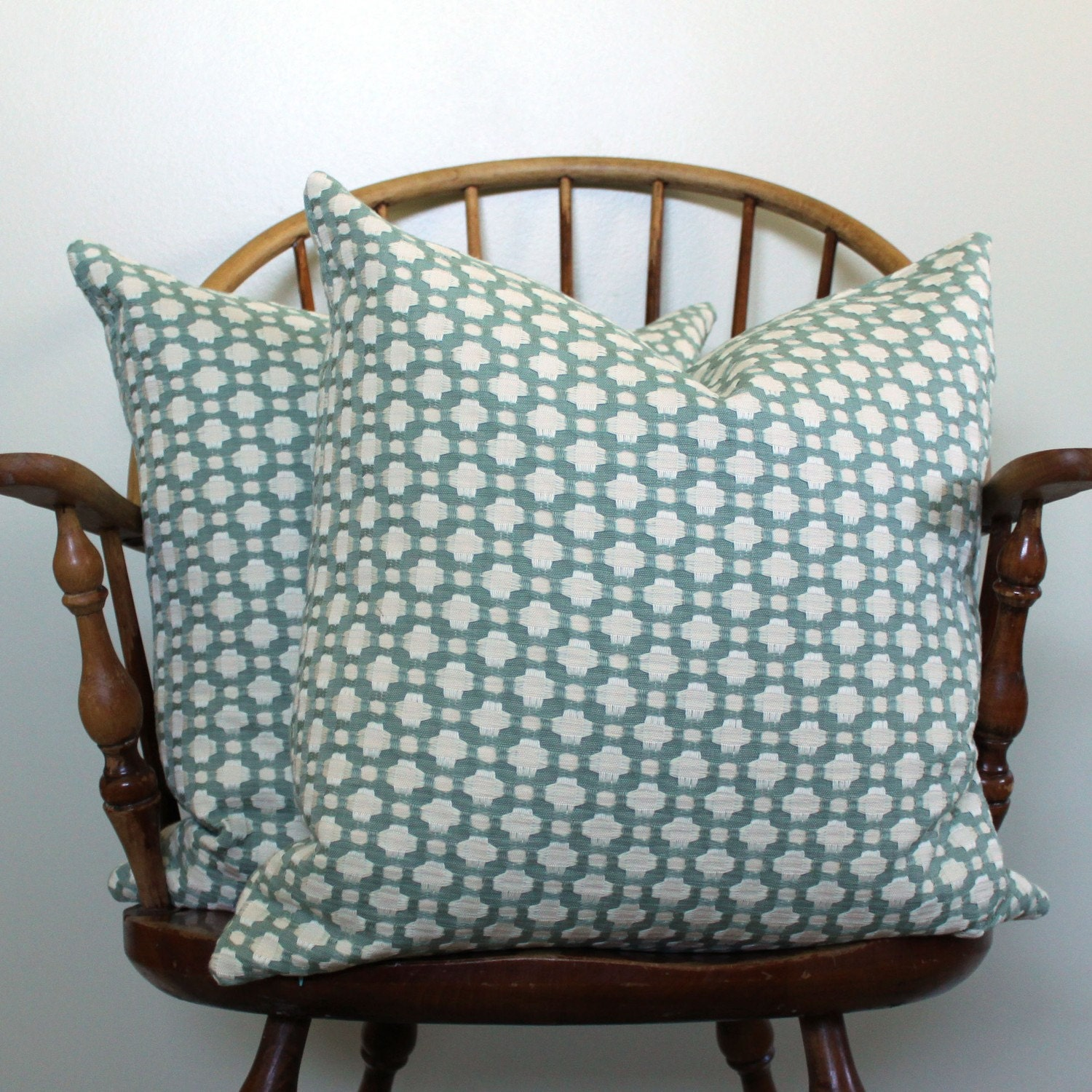 "Schumacher ""Betwixt"" in Water - 20"" Pillow Cover - Pattern on Both Sides"