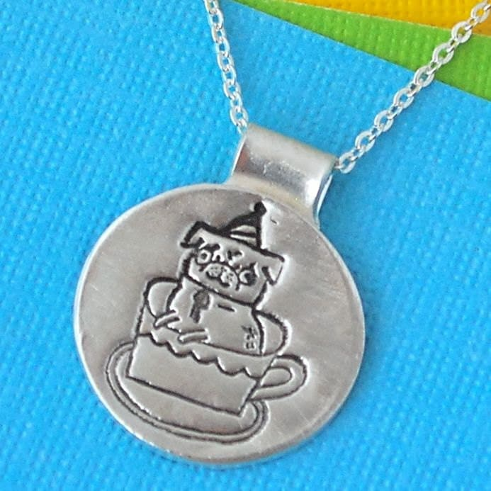 SIlver TEACUP PUG necklace, round pendant with Gemma Correll pug in a teacup, eco-friendly.  Handcrafted by Chocolate and Steel.
