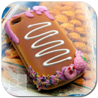 Apple iPhone 4 S 4S 4G 4GS Generation 4th Gen Skin Case: Custom Made Deco Realistic Bread Soft Case Cover with Pink Strawberry Fudge