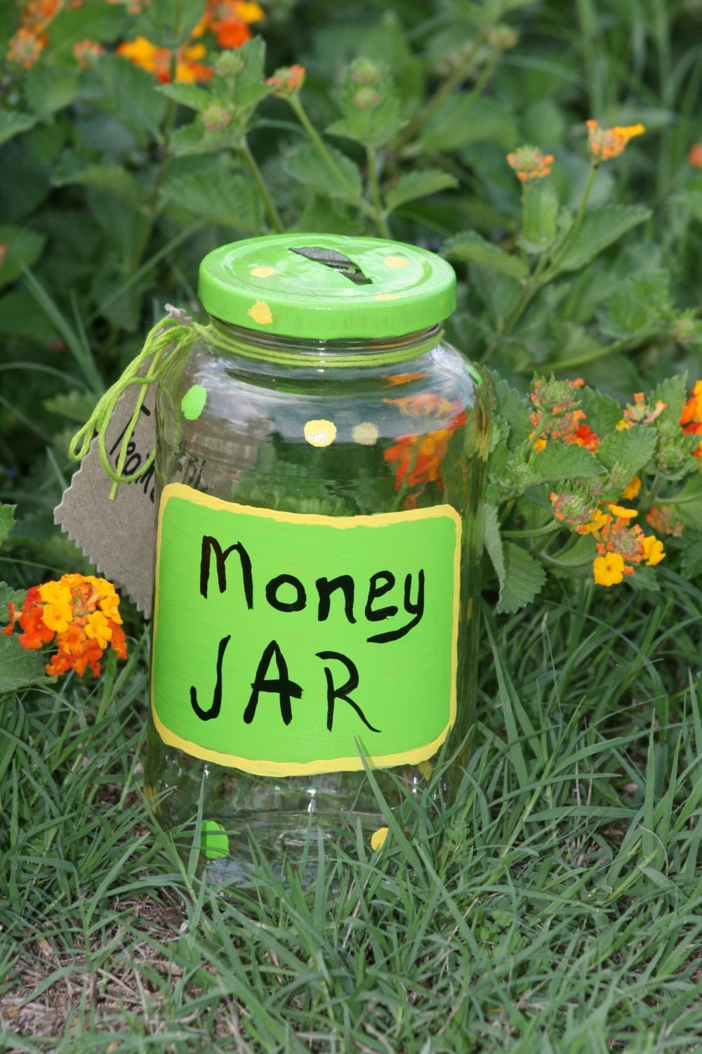 Green and Yellow Money Jar - green and yellow polka dots upcycled jar tip jar change jar recycled Eco Green - FeathandKee