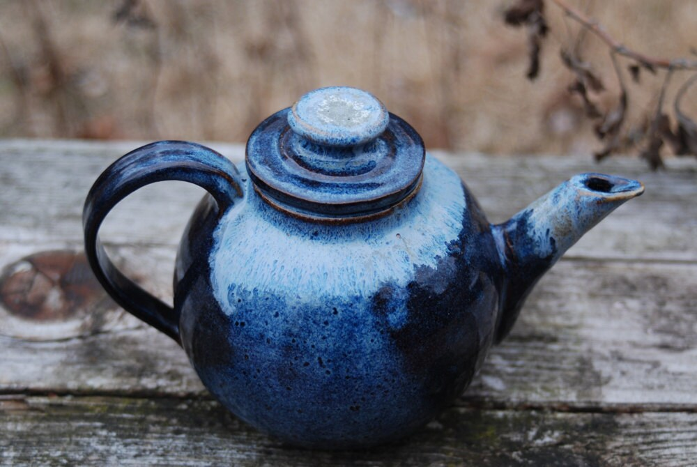 blue teapot  great for one - brookhousepottery