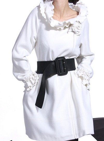 White wool women dress   flouncing neck dress Autumn Winter Spring women dress coat--CO054