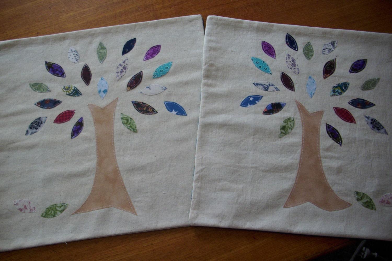 Applique Tree Cushion / Pillow Cover PAIR