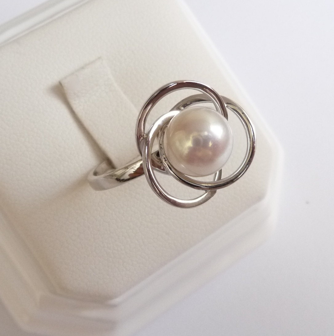 white gold pearl engagement ring pearl ring 9mm by