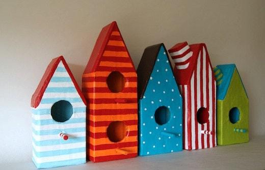 Five Paper Mache Little Bird Houses