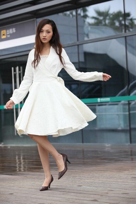Irregula لباس سفید آستین بلند کت-NC214