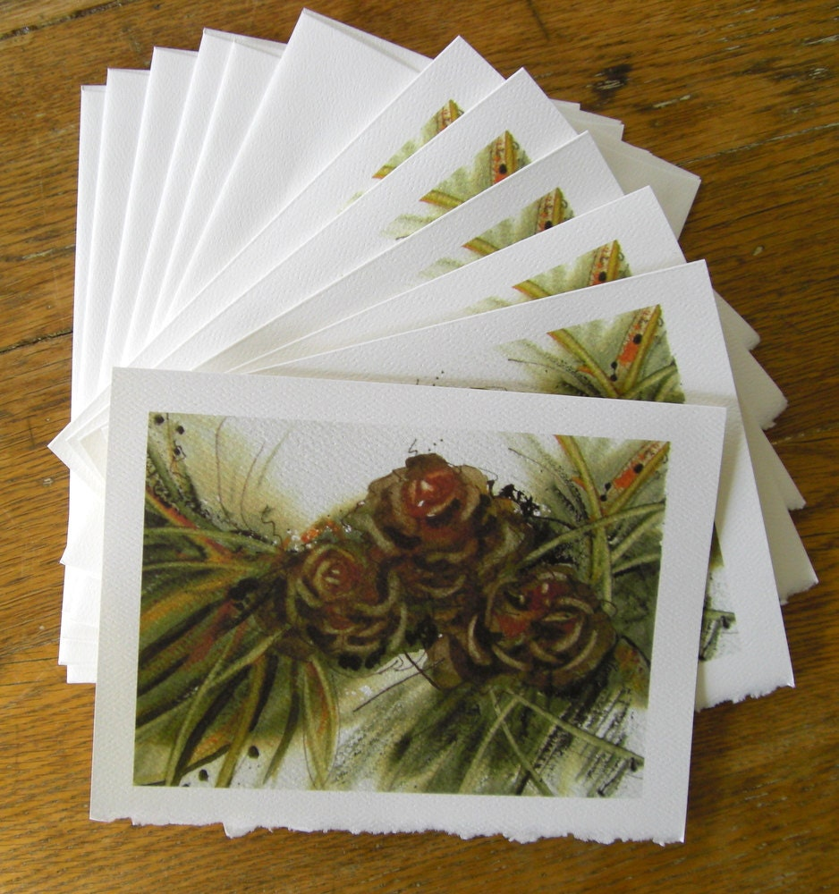 Christmas Cards Botanical Pinecones Set of Six  5 x 7 Blank Cards