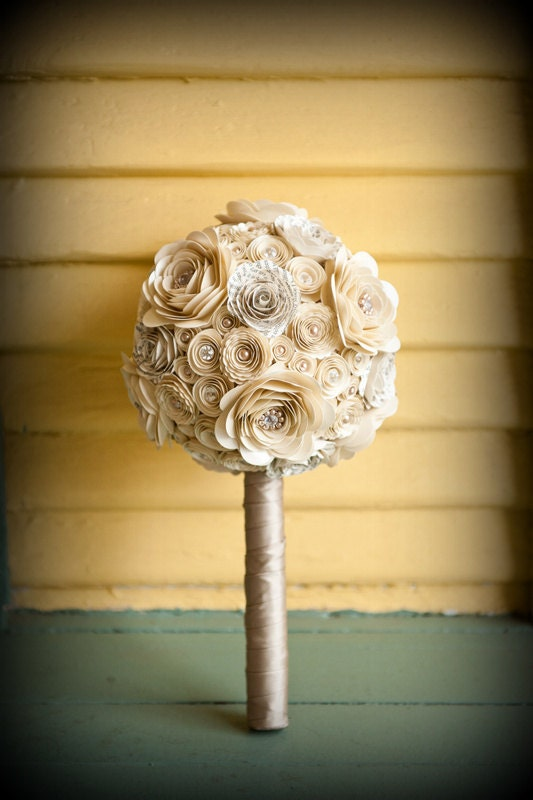 Pearls and Crystals Custom Paper Flower Wedding Bouquet