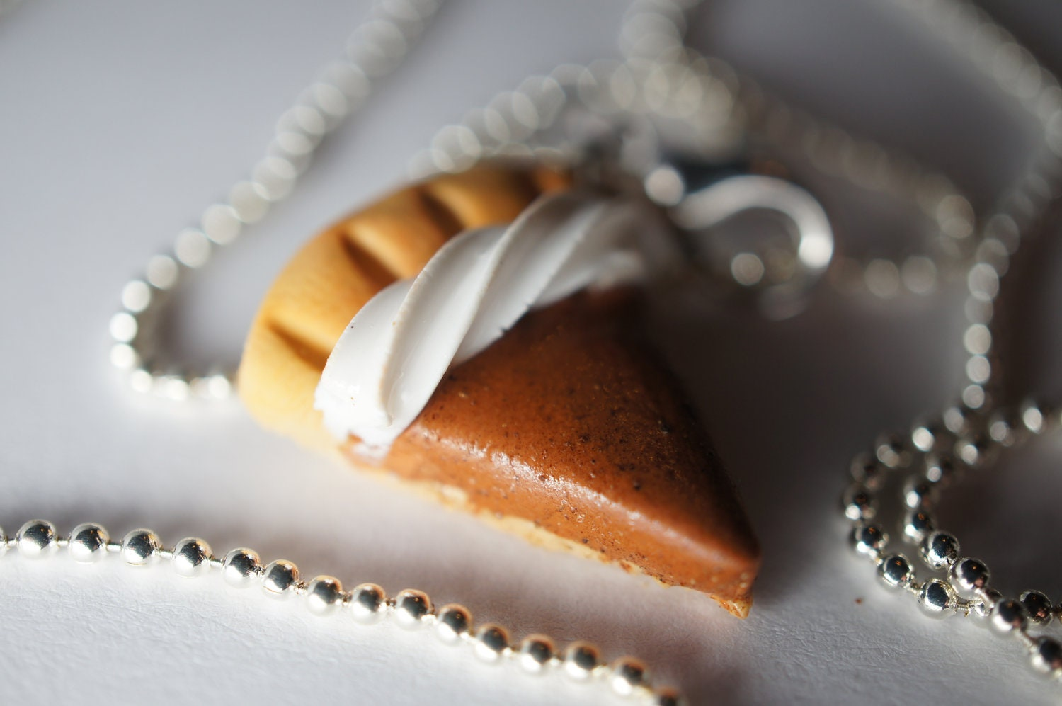 Handmade Pumpkin Pie Pendant Necklace, Miniature Food Jewelry, Polymer Clay Food Necklace