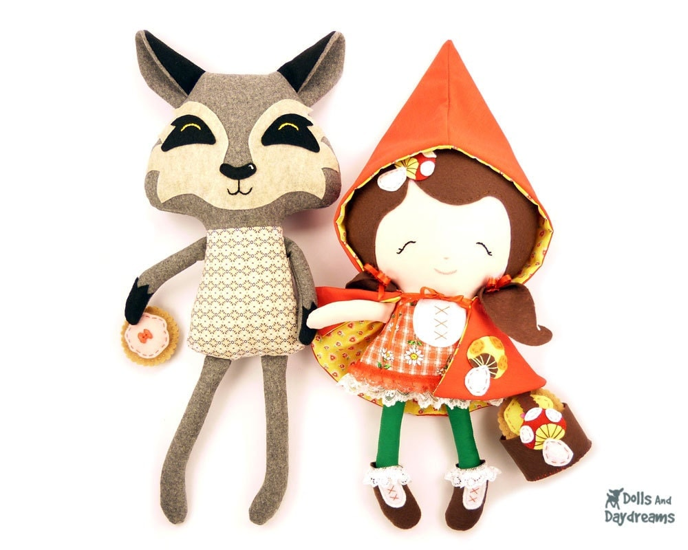 Red Riding Hood and Wolf Softie Sewing Pattern e Book PDF - DollsAndDaydreams
