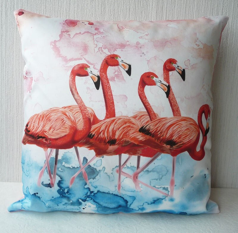 Pillow case group of Flamingoes in 16x16 inch 40x40cm for throw pillow or accent pillow cushion cover, decorator pillow