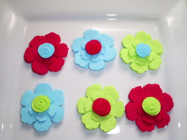 Wool Felt Flowers - Summer Time Fun -   Set of 6 Felt Flowers With Rolled Button Center - Fuchsia, Blue and Lime
