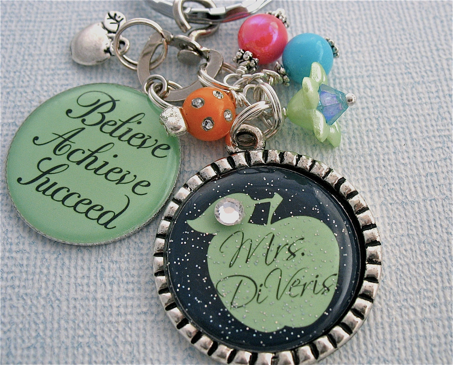 TEACHER GIFT Personalized Bottle cap Pendant  Keychain Necklace, Back to School TEACH love inspire, Learning, Teachers Gift Present