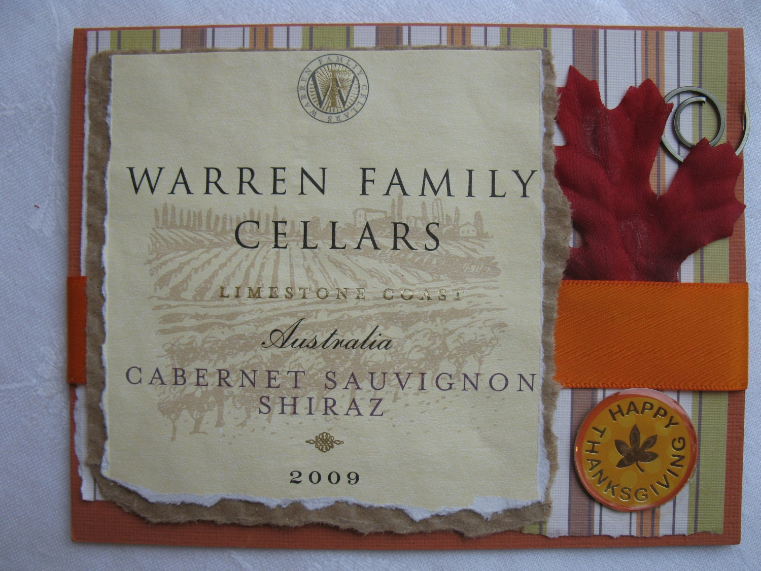 Repurposed Wine Bottle Label Thanksgiving Handmade Card Reusable Orange and Pumpkin