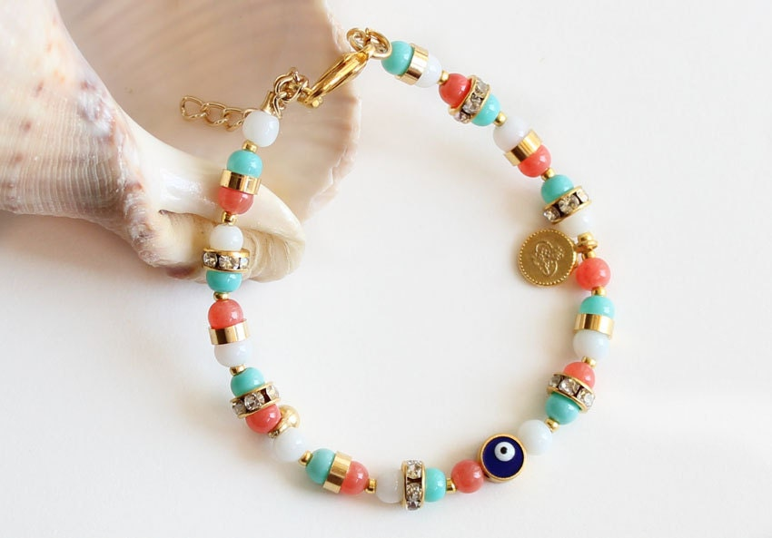Summer bracelet powder pink turquoise gemstone evil eye dragonfly sultan's signature coin charms istanbul ethnic arabic - asteriascollection