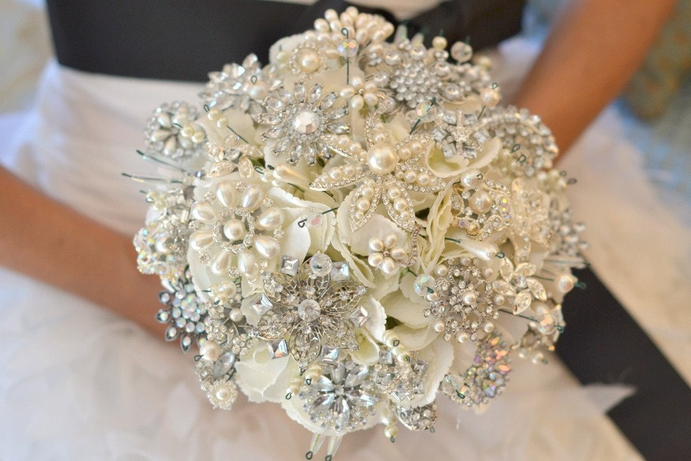 Deposit for classic heirloom pearl brooch bridal bouquet madetoorder