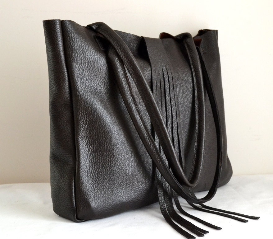 Leather Tote Laptop Bag Genuine Cow Leather Black Dark Brown Color Fringe Handmade Large Shoulder Bag  Handbag Classic Black Leather Tote - renklitasarimlar