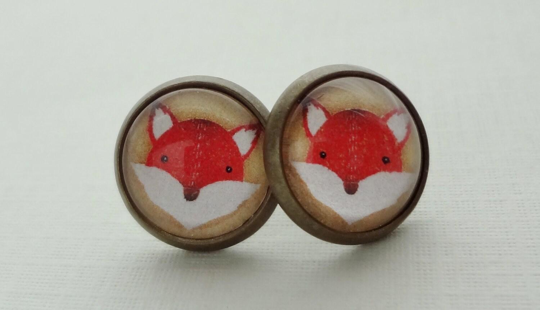 FREE SHIPPING SALE- My Friend the Fox Post Earrings in Antique Brass