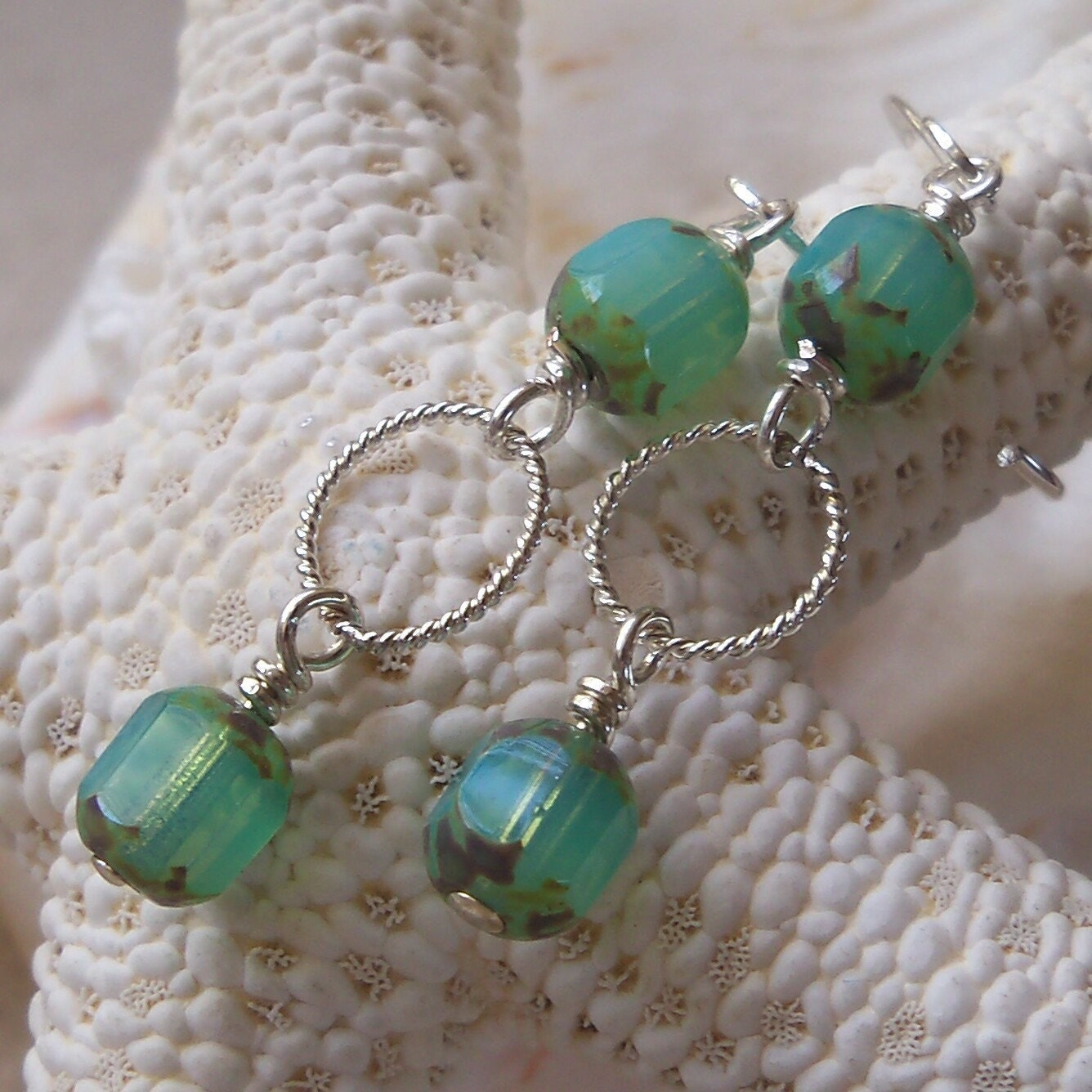 Seafoam Cathedral Beads and Sterling Silver Earrings - mompotter