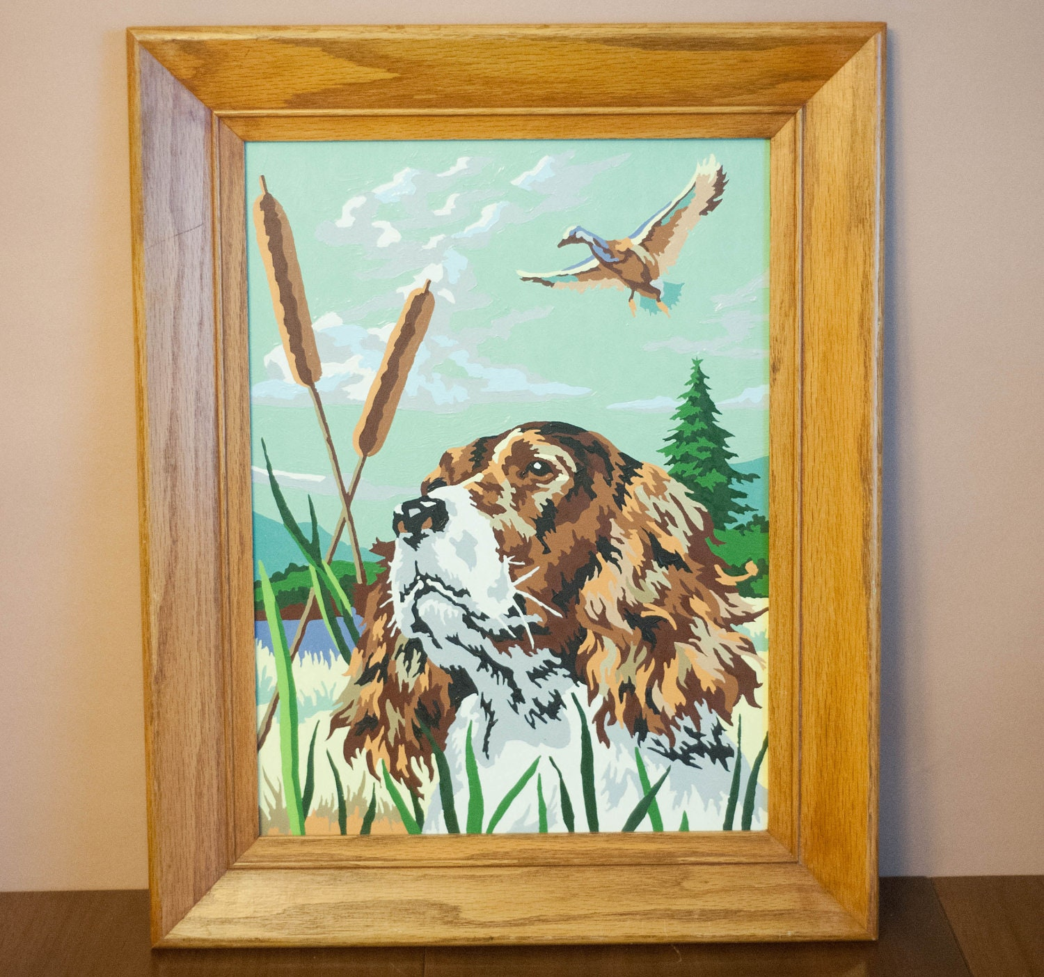 Vintage framed paint by number painting hunting dog bird mid century