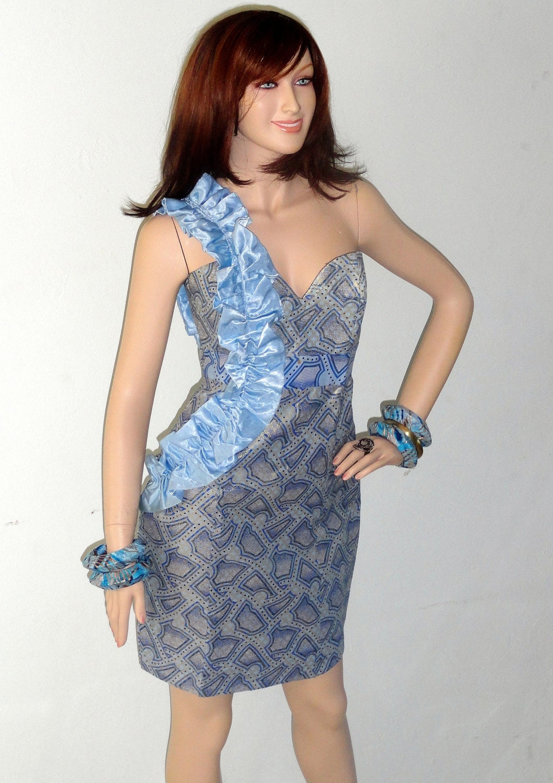 African Ankara blue  wax print dress....