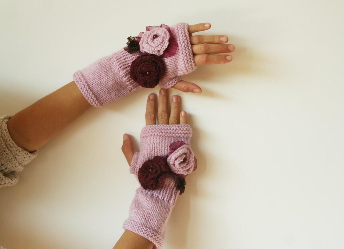 دست مد Fingerless کشباف دستکش های صورتی ، گل ، مد ، زمستان