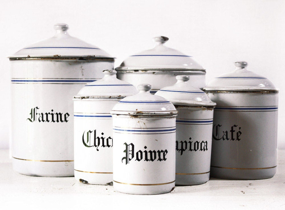 VERY LARGE French set of six WHITE and blue enamel canisters with beautiful blue and gold stripes - RueDesLouves