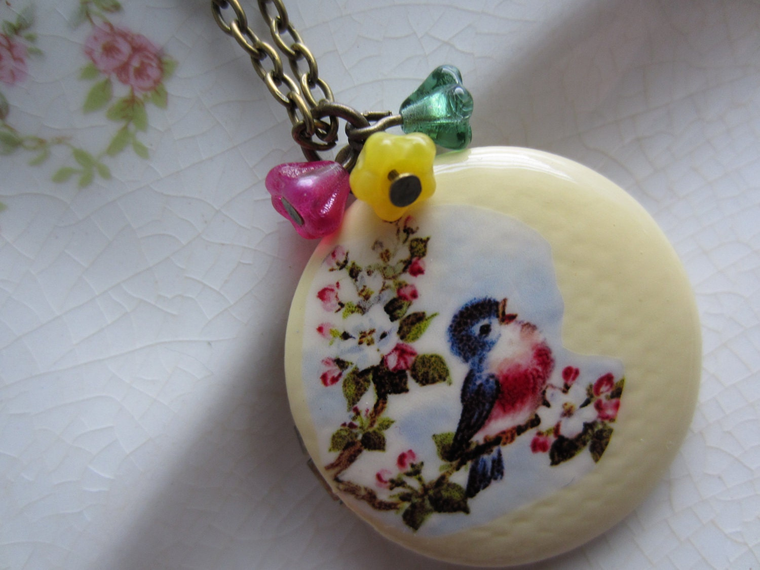Vintage Bluebird Locket - michaelandsabriney