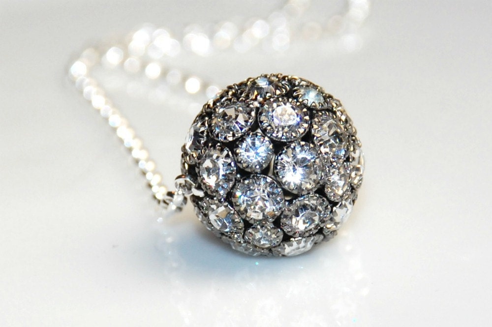 Black Rhinestone Ball Necklace -Sterling Silver -18 inches long - ELEVEN13