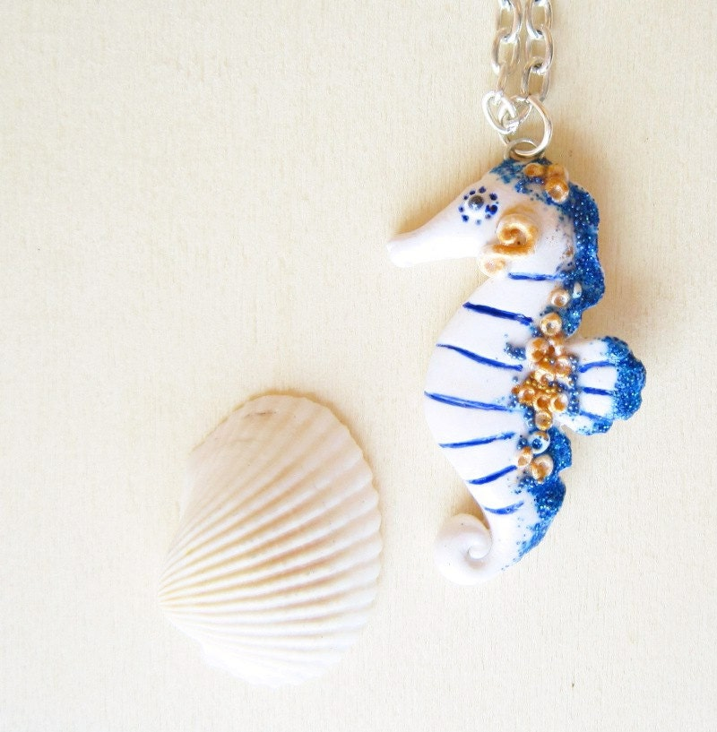 Seahorse necklace  white and blue polymer clay pendant