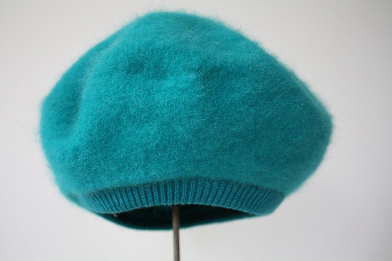 Vintage Turquoise Angora Beret - fringebetty