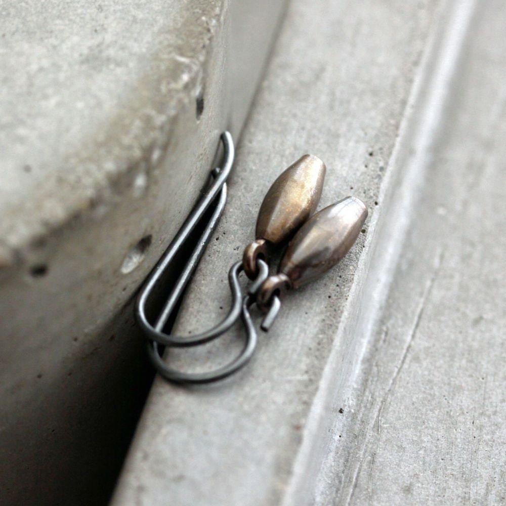 Simple Brass and Sterling Earrings, Antiqued Brass Oxidized Sterling Silver Minimalist Rustic Boho Earrings - GlitzGlitter