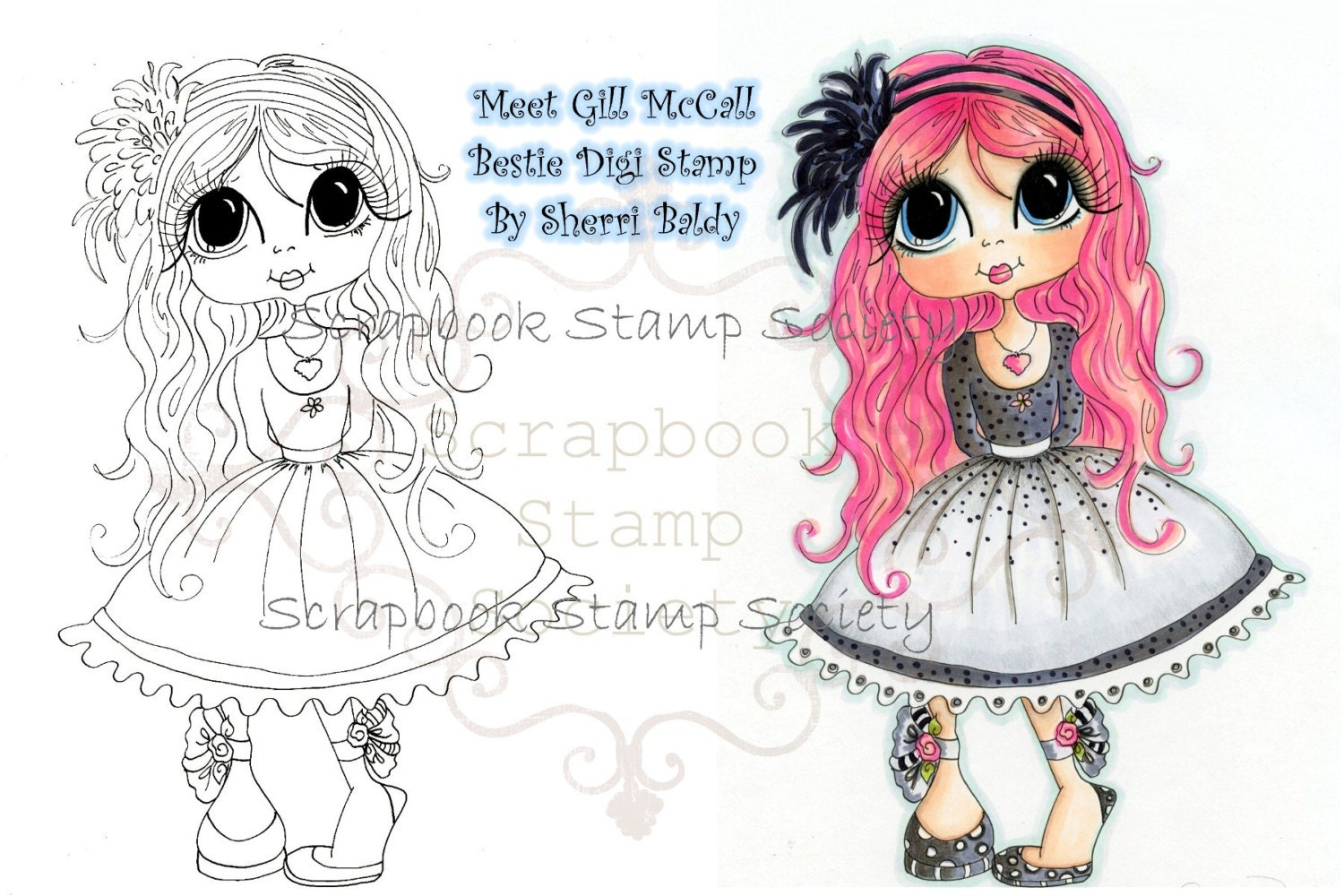 Digital Digi Stamps Big Eye Big Head Dolls Digi   Besties Gill  By Sherri Baldy