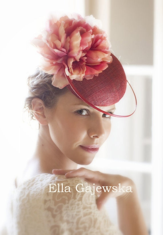 Spring-Party-Red-Cocktail-Headpiece-Gift-Elegant-Summer-Spring-Wedding-Headware-Fascinator-Mini-Hat-Round-Flower-Red-Pink-Dusty-Raspberry - EllaGajewskaHATS