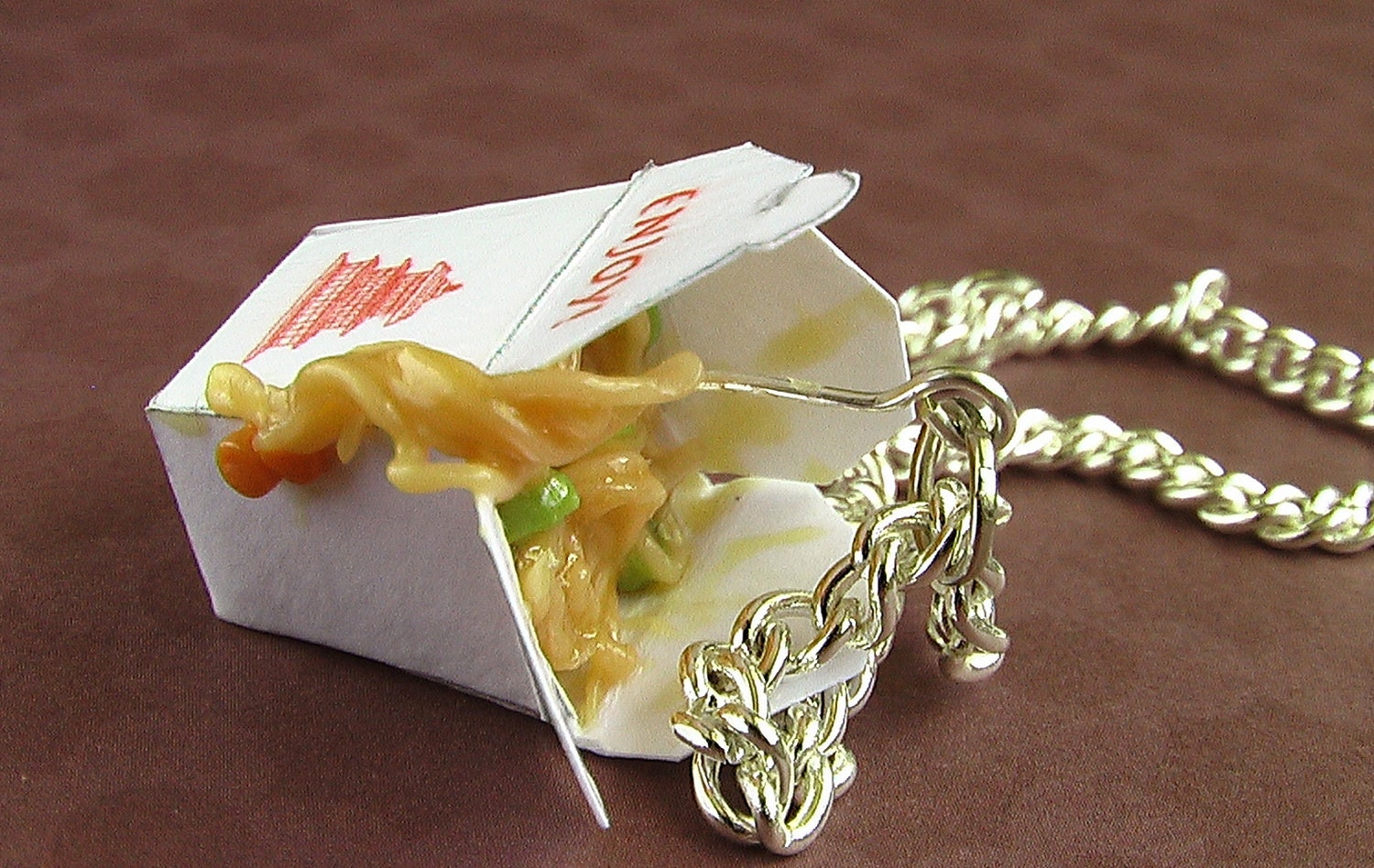 Chinese Take Out Chow Mein Necklace