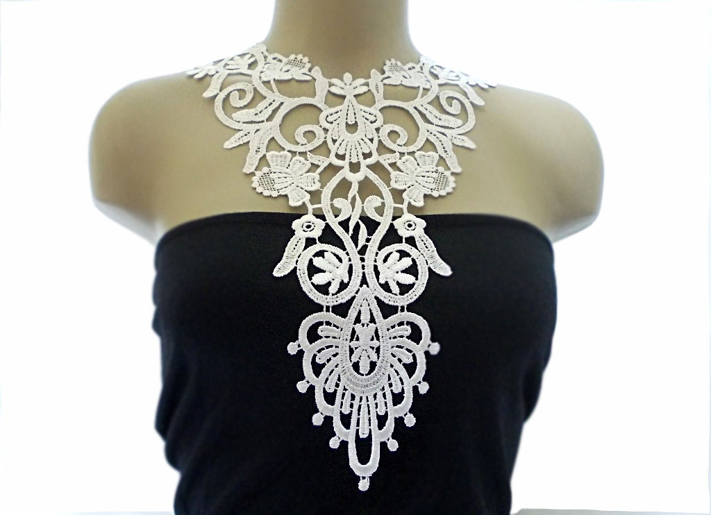 Handmade Crochet Cotton Lace Collar, necklace - White- Woman Accessories - White Color - Woman Applique - OOAK
