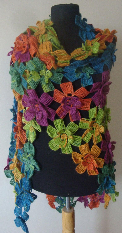 چند رنگی بلند شال / capelet / گرم / سرقت / روسری. ایده آل برای کریسمس هدیه