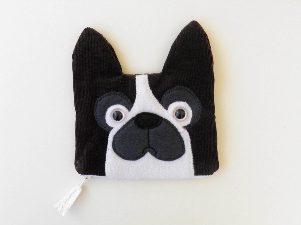 French Bulldog zipped pouch in black and white