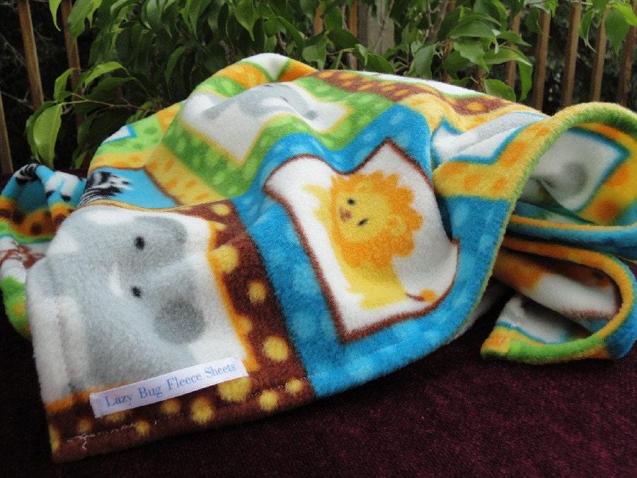 Handmade Fleece Baby Blanket - Zoo Animals Print / Safari Theme (30x40 inches)