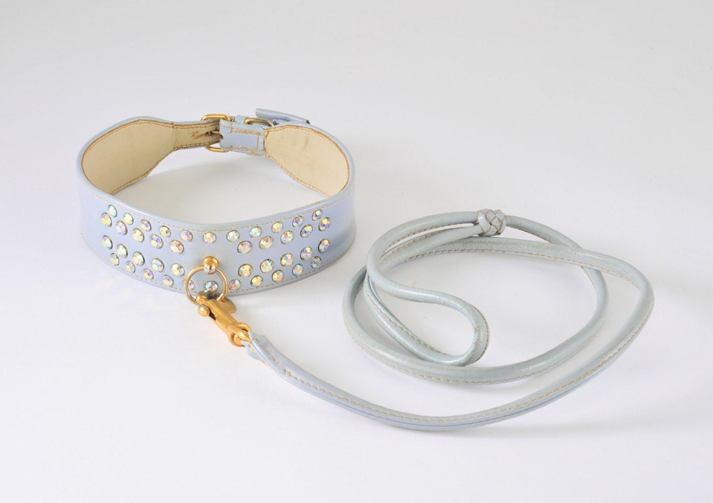 1960's Rhinestone Leather Dog Collar & Leash - Aurora Borealis Pale Blue - fallaloft