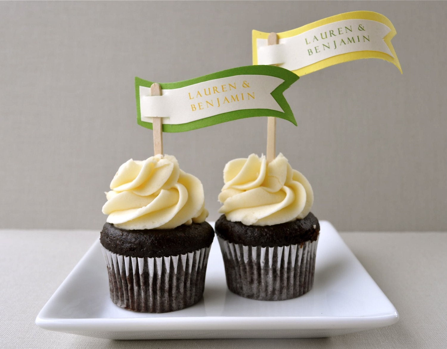 Lemon and lime personalized cupcake flags or cake toppers (set of 12)